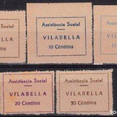 Sellos: VIÑETAS - COLECCION DE SELLOS DE GUERRA CIVIL -ASSISTENCIA SOCIAL VILABELLA - 5 VALORES DENTADOS. Lote 100083991