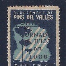 Sellos: AJUNTAMENT PINS DEL VALLÉS 1936. IMPOSTOS MUNICIPALS. HABILITADO. MH *. Lote 100200423