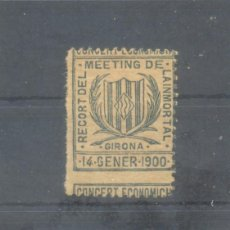 Sellos: GIRONA. 1900. CONCERT ECONOMICH. RECORT DEL MEETING DE LA INMORTAL. * S/V.. Lote 100205255