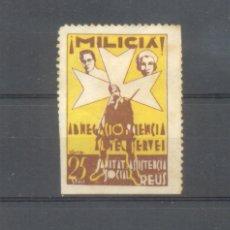 Sellos: GUERRA CIVIL. REUS. SANITAT I ASSISTENCIA SOCIAL. ¡MILICIÁ!. 25 CTMS.. Lote 100206471