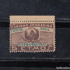 Sellos: CARIDAD GRANADINA. ESPECIAL PARA ESPECTACULOS. 5 CTS.. Lote 100290915