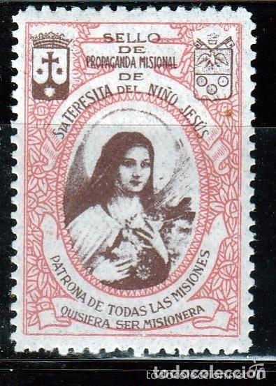 , SELLO DE PROPAGANDA MISIONAL SANTA TERESITA DEL NIÑO JESUS .VIÑETA RELIGIOSA (Sellos - España - Guerra Civil - Viñetas - Nuevos)