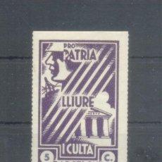 Sellos: GUERRA CIVIL. 1937. BARCELONA. PRO PATRIA LLIURE I CULTA. ** 5 C.. Lote 100927303