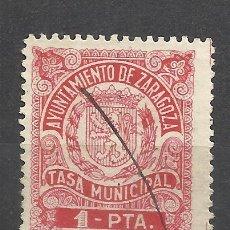Sellos: C163-SELLO LOCAL USADO ZARAGOZA AYUNTAMIENTO TASA MUNICIPAL 1 PESETA.FISCAL,FISCALES,SPAIN REVENUE.. Lote 100936115