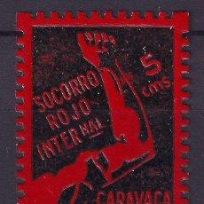 Sellos: GUERRA CIVIL SELLO LOCAL CARAVACA SOCORRO ROJO INTERNCIONAL 5 CMS ROJO ** 001LOT . Lote 101213103