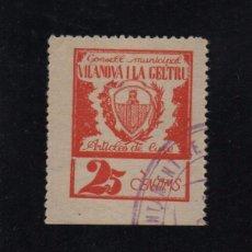 Sellos: VILANOBA I LA GELTRU, 25 CTS, ARTICULS DE LUXE, CONSELL MUNICIPAL, VER FOTO. Lote 101524827