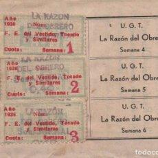 Sellos: CARNET, U.G.T. 3 CUOTAS 1ER. TRIMESTRES 1937, SOBRECARGA, LA RAZON DEL OBRERO, VER FOTOS.. Lote 101609067