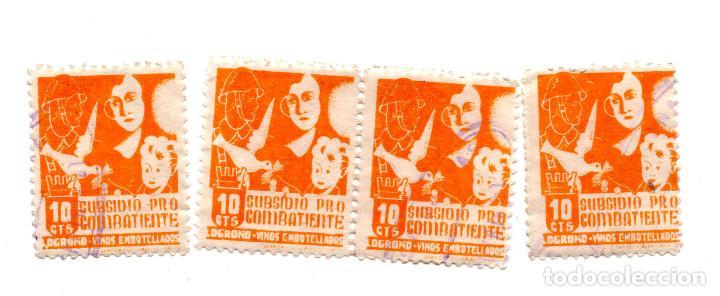 4 SELLOS. VIÑETAS. SUBSIDIO PRO COMBATIENTE -. LOGROÑO, 10 CTS (Sellos - España - Guerra Civil - Locales - Usados)