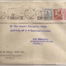 Sellos: 1937 SOBRE CIRCULADO DE SEVILLA A SAN FERNANDO (CADIZ) ESPECIAL MOVIL + EDIFIL 823(º). Lote 101652435