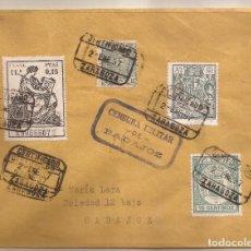 Sellos: 1937 SOBRE CIRCULADO DE ZARAGOZA A BADAJOZ. 0,15 PTAS JUDICIAL FISCAL. RARO RRR. Lote 101664535