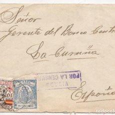 Sellos: 1937 SOBRE CIRCULADO DE RIOTORTO (LUGO) A CORUÑA. 10C LOCAL + TIMBRE PARA FACTURA. MARCA CENSURA. Lote 101666119
