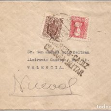 Sellos: 1937 SOBRE CIRCULADO DE CADIZ A VALENCIA 10C ESPECIAL MOVIL + ED. 857(º) HELLER C12.10. Lote 101666863