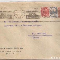 Sellos: 1937 SOBRE CIRCULADO DE SEVILLA A CADIZ 25C MOVIL ESPECIAL + PRO SEVILLA. Lote 101667251