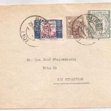 Sellos: 1937 SOBRE CIRCULADO DE BURGOS A SAN SEBASTIAN 10C MOVIL ESPECIAL + HUÉRFANOS + TASA COMERCIO. Lote 101667763