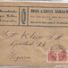 Sellos: 1936 SOBRE CIRCULADO DE PLASENCIA A SEGOVIA. 2 X 15C MOVIL ESPECIAL. Lote 101668047
