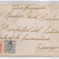 Sellos: 1936 SOBRE CIRCULADO DE NAVARRA A ZARAGOZA 2 SELLOS ESPECIAL MOVIL 25C Y 5C. Lote 101668479