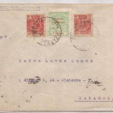 Sellos: 1936 SOBRE CIRCULADO DE JEREZ A ZARAGOZA 2 X 25C ESPECIAL MOVIL 5C LOCAL CADIZ. Lote 101668587