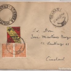 Sellos: 1937 SOBRE CIRCULADO EN GRANADA. 2 X 30C TELÉGRAFOS + 5C GRANADA LOCAL. MARCA CENSURA MILITAR. Lote 101668931