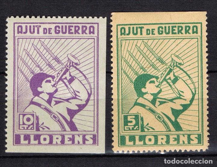 Sellos: Guerra Civil Sello Local LLorens Ajut de guerra. Serie completa. * 001LOT10 - Foto 1 - 101690771
