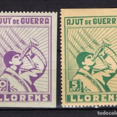 Sellos: GUERRA CIVIL SELLO LOCAL LLORENS AJUT DE GUERRA. SERIE COMPLETA. * 001LOT10. Lote 101690771