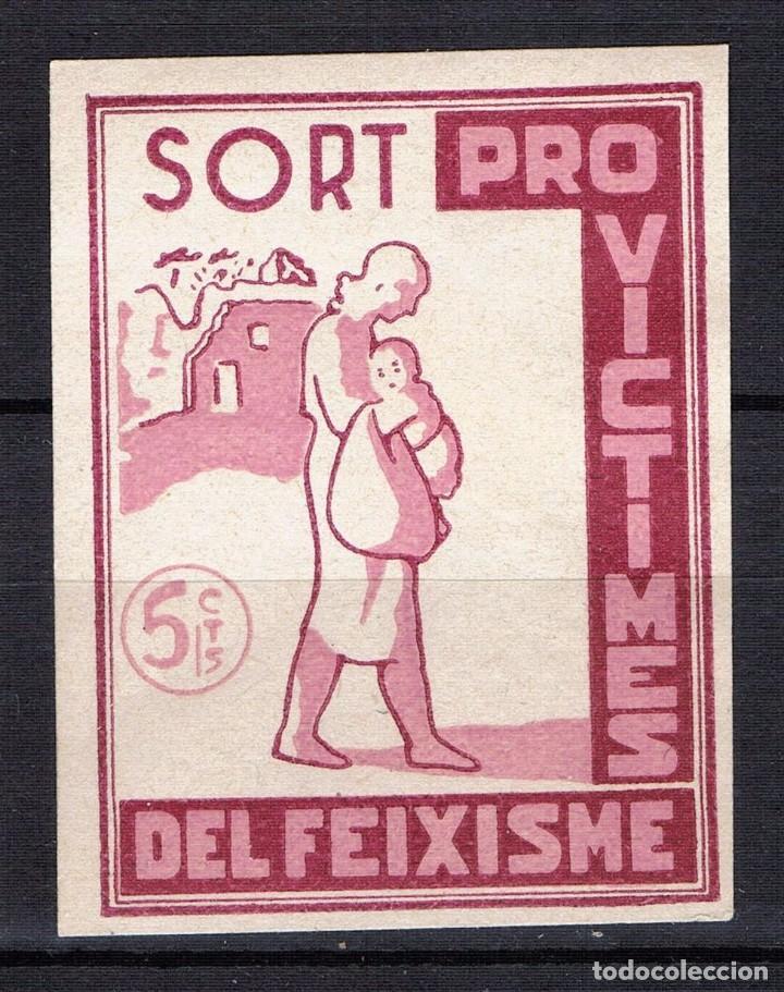 GUERRA CIVIL SELLO LOCAL SORT PRO VICTIMES DEL FEIXISME 5 CTS. * 001LOT (Sellos - España - Guerra Civil - Locales - Nuevos)