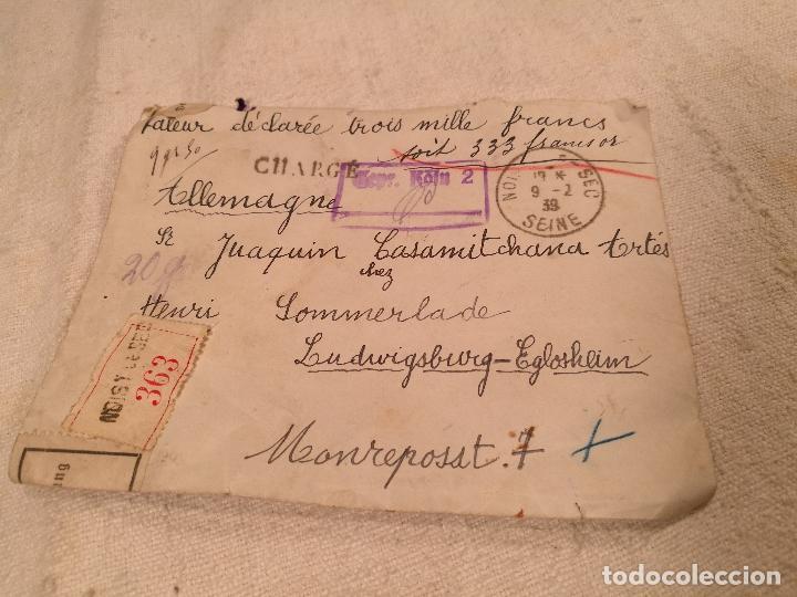 Sellos: SOBRE ALEMANIA 1939 CON SELLOS LACRE Y TIMBRES MATASELLOS EPOCA--JOAQUIN CASAMITJANA --RARO - Foto 36 - 101760331