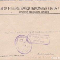 Sellos: F22-4-MILICIA FALANGE. CARTA MARCA JEFATURA PROVINCIAL OVIEDO . CENSURA. Lote 101788475