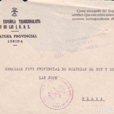 Sellos: F22-42-FALANGE. CARTA JEFATURA PROVINCIAL LÉRIDA . FRANQUICIA POSTAL DE GUERRA. Lote 101789707