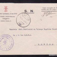 Sellos: F22-63-FALANGE. CARTA JEFATURA PROVINCIAL CUENCA . 1939. Lote 101789995