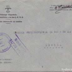 Sellos: F22-70-FALANGE. CARTA JEFATURA PROVINCIAL. BURGOS. 1939. FRANQUICIA FALANGE. Lote 101790031