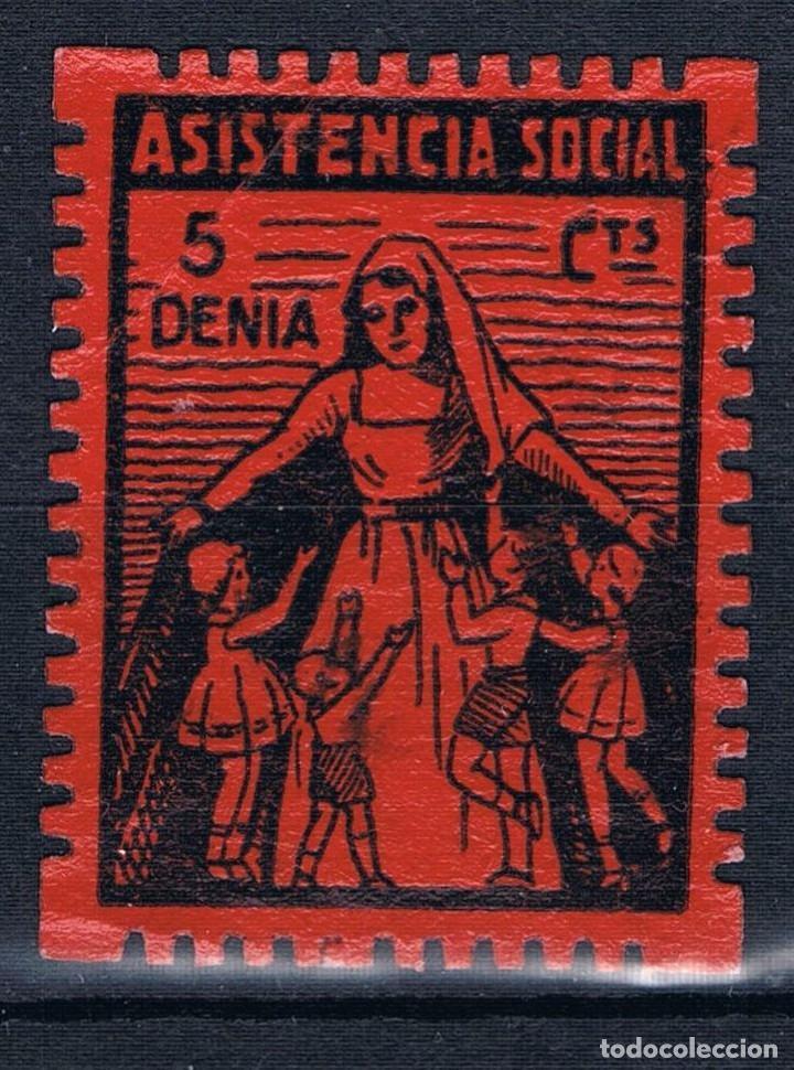 GUERRA CIVIL SELLO LOCAL DENIA ASISTENCIA SOCIAL 5 CTS. GRANDE * 001LOT LEVE MARCA ESQUINA SUP. DCH (Sellos - España - Guerra Civil - Locales - Nuevos)