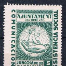 Sellos: GUERRA CIVIL SELLO LOCAL JUNCOSA DE LES GARRIGUES COMUNICACIONS ASSISTENCIA SOCIAL 5 CTS * 001LOT . Lote 101916379