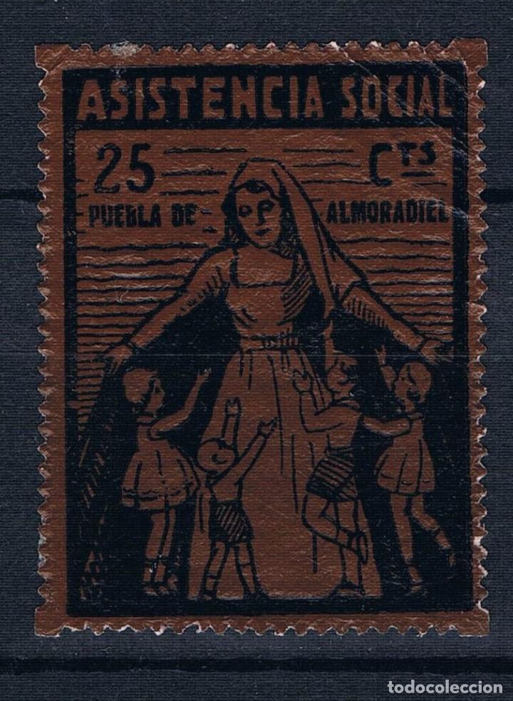 GUERRA CIVIL SELLO LOCAL PUEBLA DE ALMORADIEL ASISTENCIA SOCIAL 25 CTS * 001LOT LEER DESCRIPCION (Sellos - España - Guerra Civil - Locales - Nuevos)