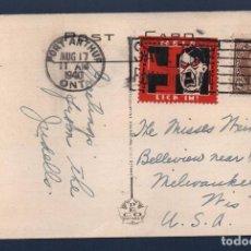 Sellos: T.P. CIRCULADA DE CANADA A U.S.A.CON SELLO ANTINAZISMO, AÑO 1940, VER FOTO. Lote 101939931