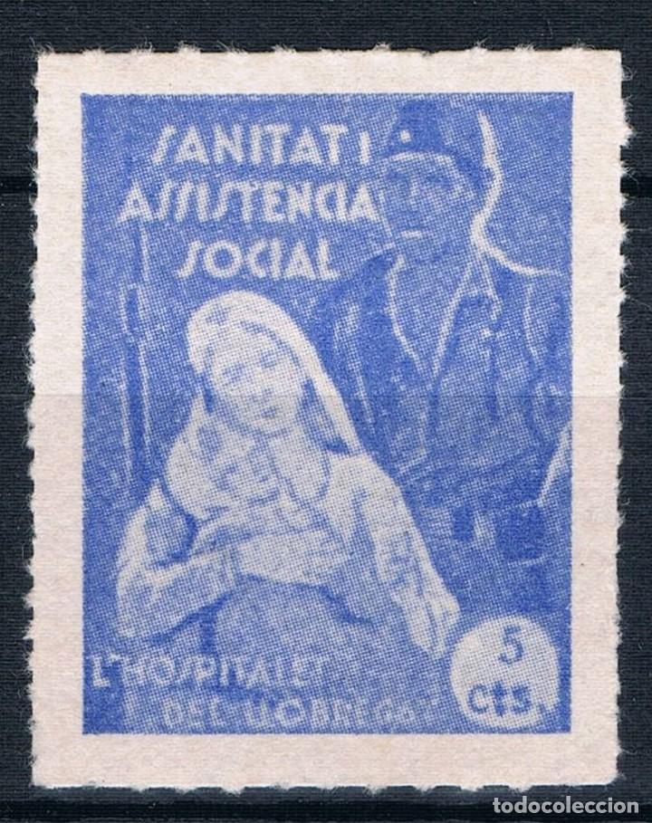 GUERRA CIVIL SELLO LOCAL L´HOSPITALET DEL LLOBREGAT SANITAT ASSISTECIA SOCIAL 5 CTS * 001LOT (Sellos - España - Guerra Civil - Locales - Nuevos)