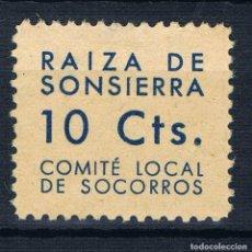 Sellos: GUERRA CIVIL SELLO LOCAL RAIZA DE SONSIERRA COMITE LOCAL DE SOCORROS 10 CTS. * 001LOT. Lote 101999679