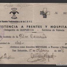 Sellos: GUIPUZCOA, 2 PTAS, DONATIVO -FRENTES Y HOSPITALES- VER FOTO. Lote 102680587