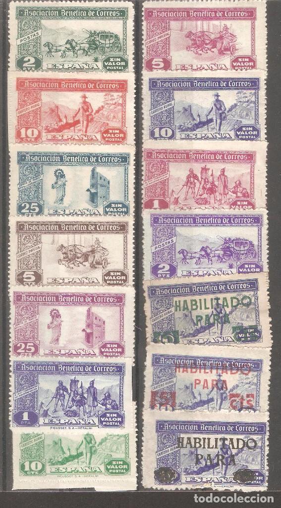 BENEFICENCIA CORREOS,14VALORES. (Sellos - España - Guerra Civil - Beneficencia)