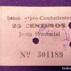 Sellos: VIÑETA - BILLETE DE SUBSIDIO PRO-COMBATIENTES DE LOGROÑO. 25 CENTIMOS. TAMPON ORIGINAL. GUERRA CIVIL. Lote 103209147