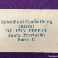 Sellos: VIÑETA SUBSIDIO AL COMBATIENTE (ALAVA) DE UNA PESETA. GUERRA CIVIL. SELLO. JUNTA PROVINCIAL. SERIE C. Lote 103209675