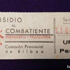 Sellos: VIÑETA SUBSIDIO AL COMBATIENTE (BILBAO) DE UNA PESETA.GUERRA CIVIL. SELLO. COMISION PROVINCIAL. Lote 103209979