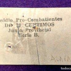 Sellos: VIÑETA SUBSIDIO AL COMBATIENTE (ALAVA) DE 10 PESETAS. GUERRA CIVIL. SELLO. JUNTA PROVINCIAL. SERIE B. Lote 103210623