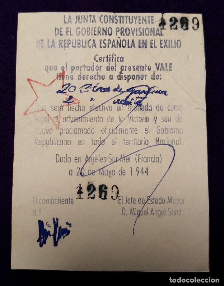 RARO VALE DEL GOBIERNO PROVISIONAL DE LA REPUBLICA ESPAÑOLA EN EL EXILIO. EN 1944 FRANCIA. BILLETE (Sellos - España - Guerra Civil - Beneficencia)