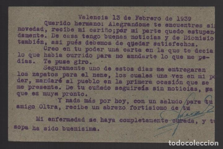 Sellos: POSAL, VALENCIA A JEFATURA SANIDAD EJERCITO DE ANDALUCIA, BASE 4ª C. G. VER FOTOS - Foto 2 - 103288779