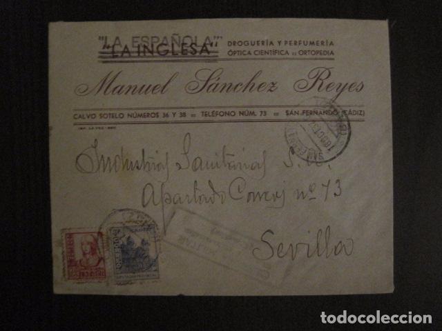 CENSURA MILITAR CADIZ - LA ESPAÑOLA - LA INGLESA -CARTA - VER FOTOS - (V-12.663) (Sellos - España - Guerra Civil - De 1.936 a 1.939 - Cartas)