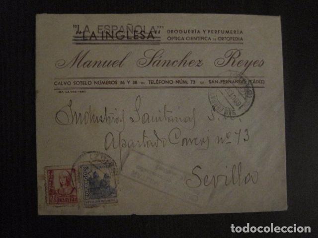Sellos: CENSURA MILITAR CADIZ - LA ESPAÑOLA - LA INGLESA -CARTA - VER FOTOS - (V-12.663) - Foto 6 - 103316667