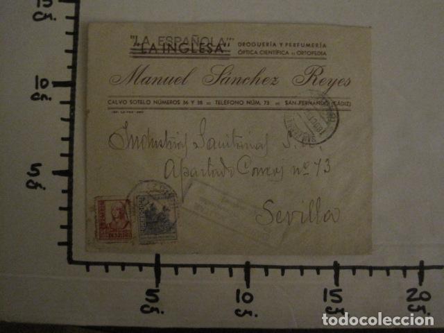 Sellos: CENSURA MILITAR CADIZ - LA ESPAÑOLA - LA INGLESA -CARTA - VER FOTOS - (V-12.663) - Foto 7 - 103316667
