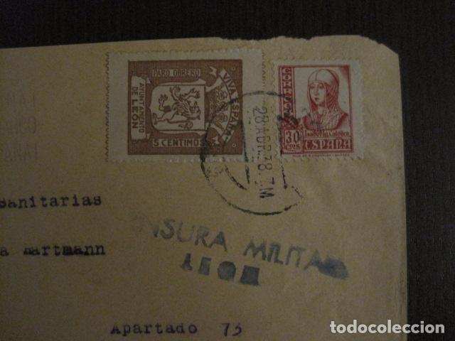 Sellos: CENSURA MILITAR LEON - PARO OBRERO -VIVA ESPAÑA -CARTA - VER FOTOS - (V-12.664) - Foto 2 - 103316859