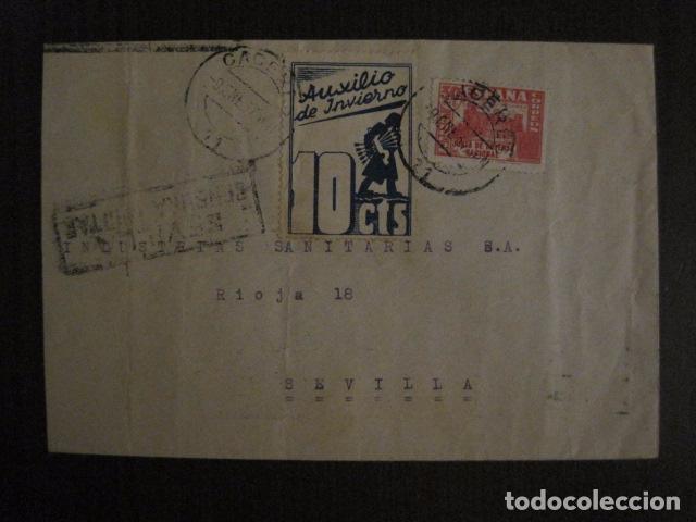 CENSURA MILITAR SEVILLA - AUXILIO INVIERNO -CARTA - VER FOTOS - (V-12.665) (Sellos - España - Guerra Civil - De 1.936 a 1.939 - Cartas)