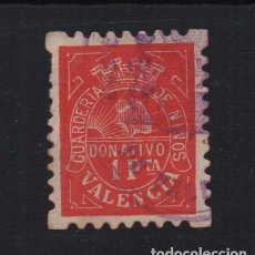 Sellos: VALENCIA, 1 PTA. DONATIVO- GUARDERIA DE NIÑOS, CORONA REPUBLICANA, N/C. VER SOFIMA Nº 24, VER FOTO. Lote 103329319